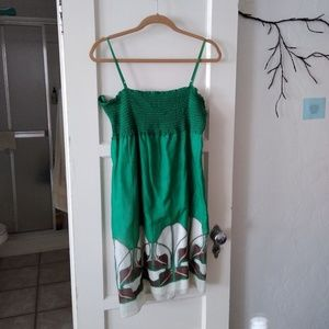 Green cotton and silk dress with design